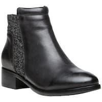 Propet Women's Taneka Plain Toe Bootie Black Full Grain Leather