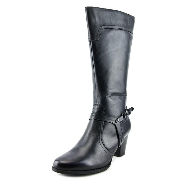 Spring Step Dominant Women  Round Toe Leather Black Knee High Boot