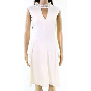Calvin Klein Womens Cutout Embellished Sheath Dress