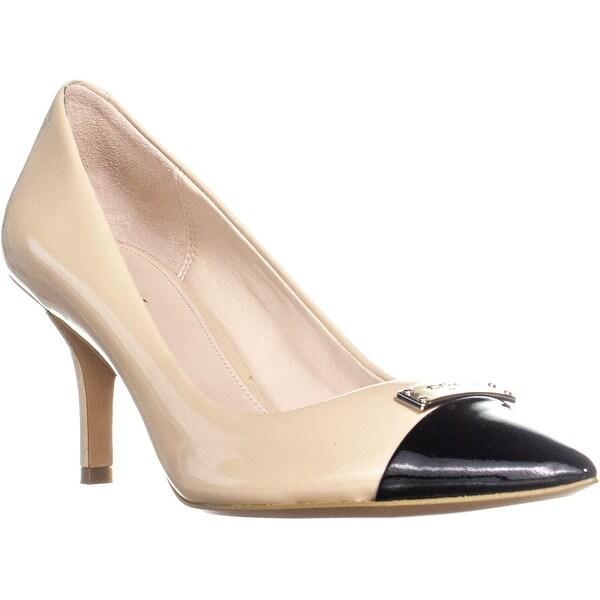 d72e03bcd Coach Zan Pointed Toe Slip On Kitten Heel Heels, Tapioca/Black - 8.5 us