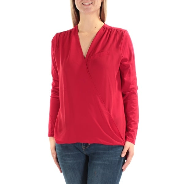 VINCE CAMUTO Womens Red Long Sleeve V Neck Faux Wrap Top Size: M