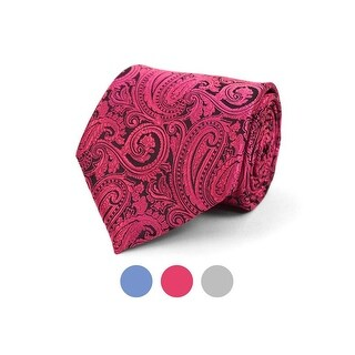 Men's Paisley 100% Microfiber Poly Woven Wedding Neck Tie - regular