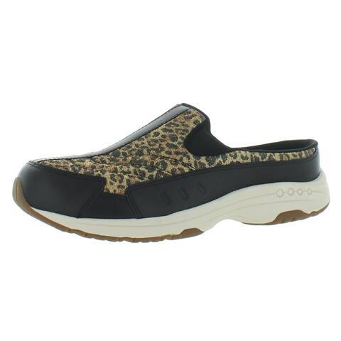 Easy Spirit Womens Travel Time 465 Slip-On Sneakers Leather Backless - Black - 7.5 Medium (B,M)