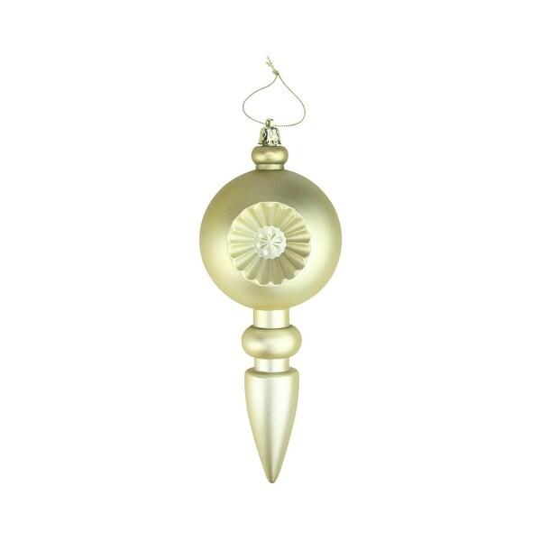 "4ct Matte Gold Retro Reflector Shatterproof Christmas Finial Ornaments 7.5"""