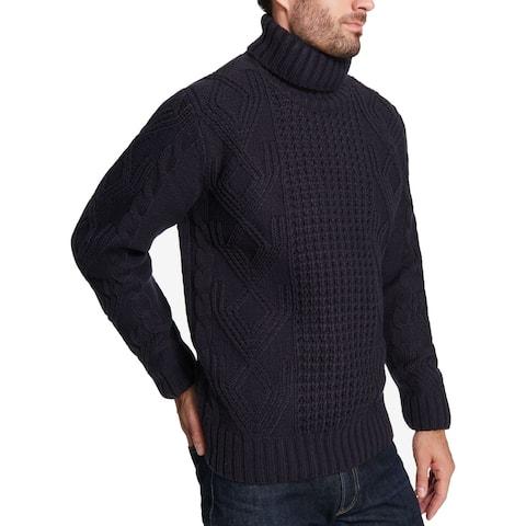 Weatherproof Mens Sweater Navy Blue Size Large L Chunky Knit Turtleneck