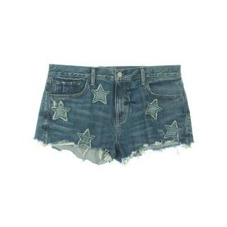 Denim & Supply Ralph Lauren Womens Shorts Boyfriend Star Patchwork