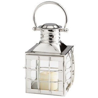 Cyan Design 09749  Remington Glass and Stainless Steel Lantern Candle Holder - Nickel