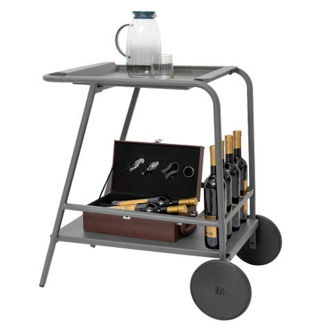 """2-Tier Durable Kitchen Bar Serving Cart on Wheels with Detachable Tray - 30.7"""" L x 18.9"""" W x 29.5"""" H"""