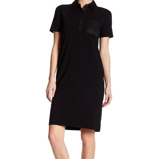 DKNY NEW Deep Black Womens Size Small S Pocket Collared Shirt Dress