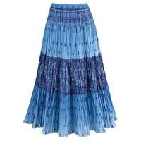 Catalog Classics Women's Sky Blue Maxi Skirt - Peasant Crinkle Broom Style Skirt