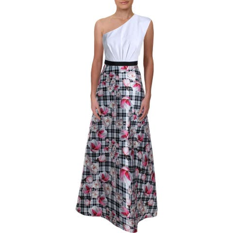Kay Unger New York Womens Evening Dress Printed One Shoulder - Multi