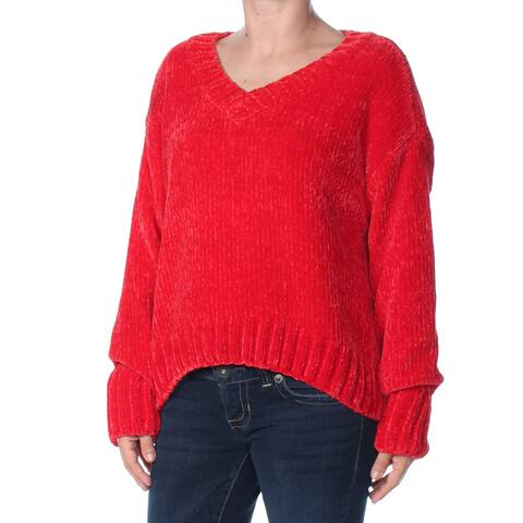 SANCTUARY Womens Red Chenille Long Sleeve V Neck Sweater Size: XL