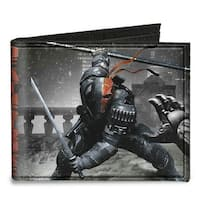 Deathstroke Arkham Origins Action Pose Snow Grays Red Canvas Bi Fold Wallet One Size - One Size Fits most