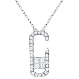 Prism Jewel 0.37Ct G-H/SI1 & I1 Round & Princess Natural Diamond Stylist Necklace