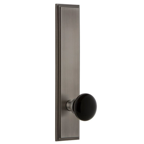 """Grandeur CARCOV_TP_PRV_234_RH Carre Solid Brass Tall Plate Right Handed Privacy Door Knob Set with Coventry Knob and 2-3/4"""""""