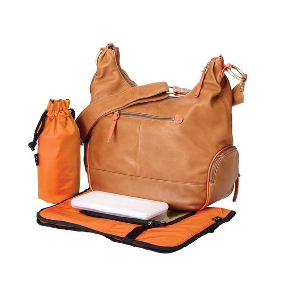 oioi Chestnut Leather Hobo Diaper Bag