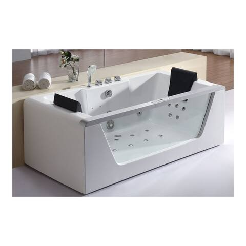 """Eago AM196HO 71"""" Acrylic Whirlpool Tub for Free Standing Installation with Rear Center Drain, Glass Front Panel and Ozone"""
