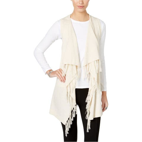 G.H. Bass & Co. Womens Fringe Cardigan Sweater, off-white, Large