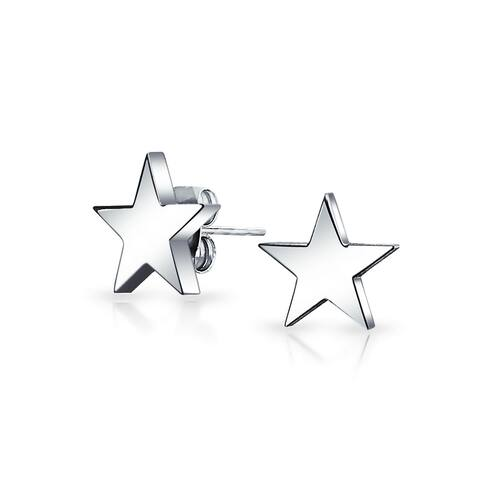 Simple Patriotic Celestial Star Stud Earrings For Men And Women Polished Finish Stainless Steel 10MM
