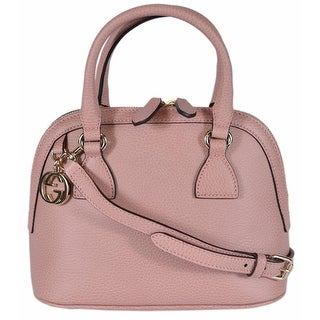Gucci 449661 Soft Pink Leather 2-Way Convertible GG Charm Small Dome Purse - BABY PINK - 9.06 x 7.48 x 4.72 inches
