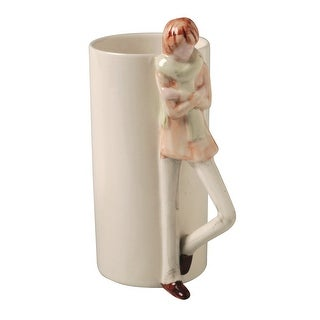 Lean On Me Mugs - 3D Sculpted Boy or Girl Handle Tall Ceramic Coffee Mug - 7 in.
