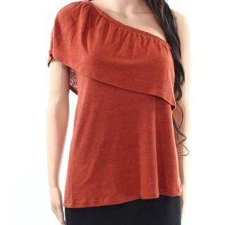 Melrose & Market NEW Brown Spice Womens Medium M One-Shoulder Knit Top