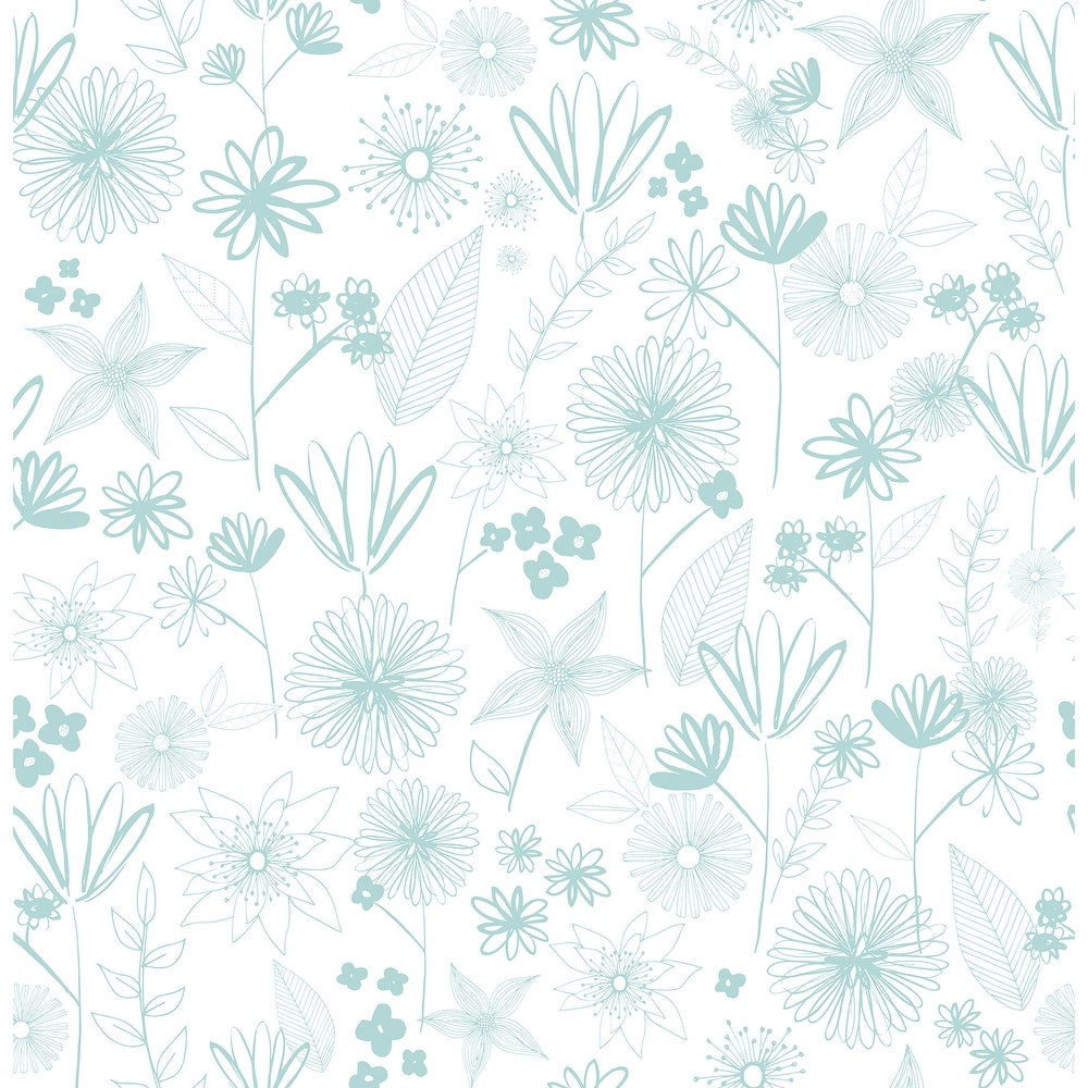 Brewster  HN002646   Kids 56-3/8 Square Foot - Mariska - Unpasted Paper Wallpaper - Turquoise (Turquoise)