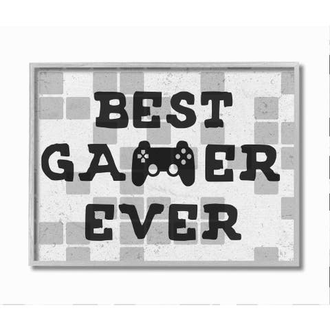 Stupell Industries Best Gamer Ever Phrase Video Game Reference Neutral Tile Framed Wall Art - Grey