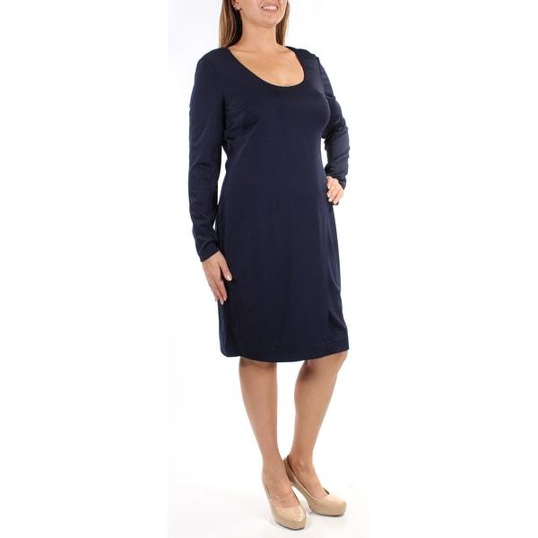 Shop Womens Navy Long Sleeve Knee Length Shift Formal Dress Size 14