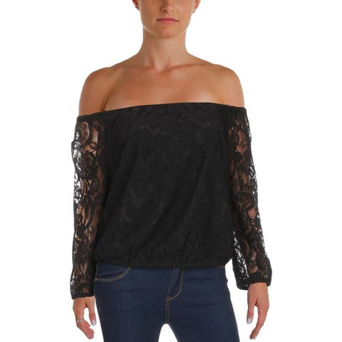 Cupcakes and Cashmere Womens Karla Casual Top Lace Off-The-Shoulder