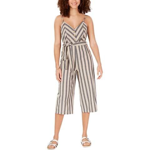 Rosie Harlow Womens Juniors Jumpsuit Cropped Stripe - Black/Doeskin