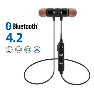 Metal Magnetic Wireless Bluetooth Earphone Sports Headset Stereo Bass Headphone, color Black
