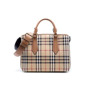 Burberry Womens Tan Leather Trim Horseferry Check Tote Shoulder Bag - MEDIUM