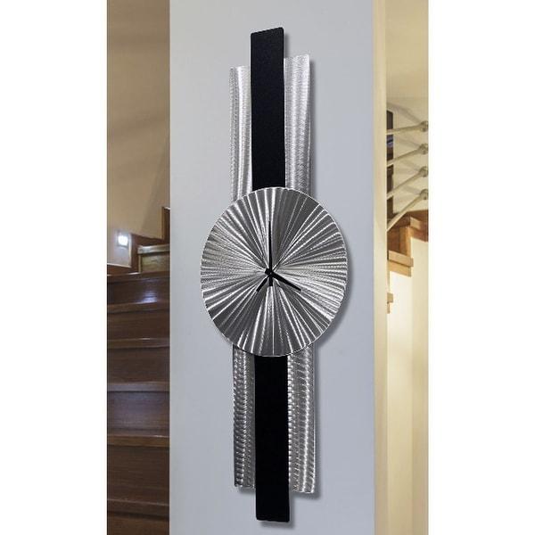 """Statements2000 Metal Wall Clock Art Modern Silver Black Decor by Jon Allen - Infinite Orbit - 32"""" x 9"""". Opens flyout."""