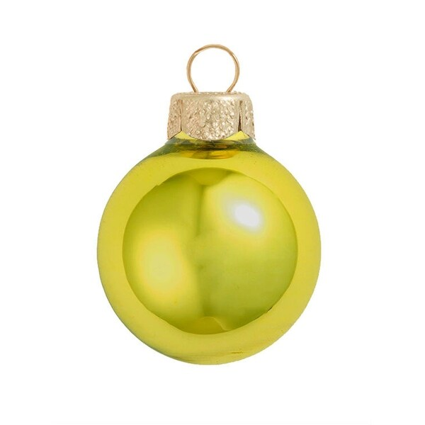 "28ct Matte Soft Yellow Glass Ball Christmas Ornaments 2"" (50mm)"