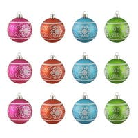 "12ct Colorful Snowflake Glitter Shatterproof Christmas Ball Ornaments 2.5"" 60mm"