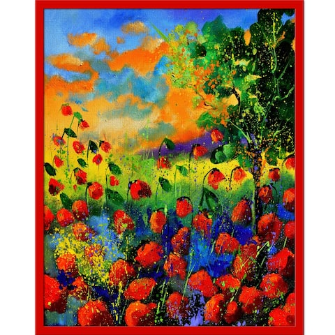 """ArtistBe Red poppies 451150 with Studio Red Metallic Frame, 21"""" x 25"""""""
