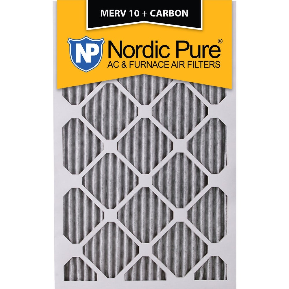 2 Pack 2 Piece Nordic Pure 12x20x1 MERV 12 Pleated Plus Carbon AC Furnace Air Filters