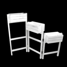 "27.25"" Decorative White 3 Tier Hinged Wooden Garden Planter Stand"