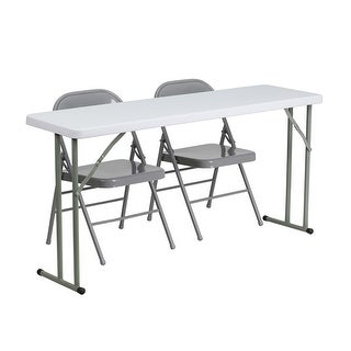 """Offex 18"""" x 60"""" Plastic Folding Training Table with 2 Gray Metal Folding Chairs [OF-RB-1860-1-GG]"""