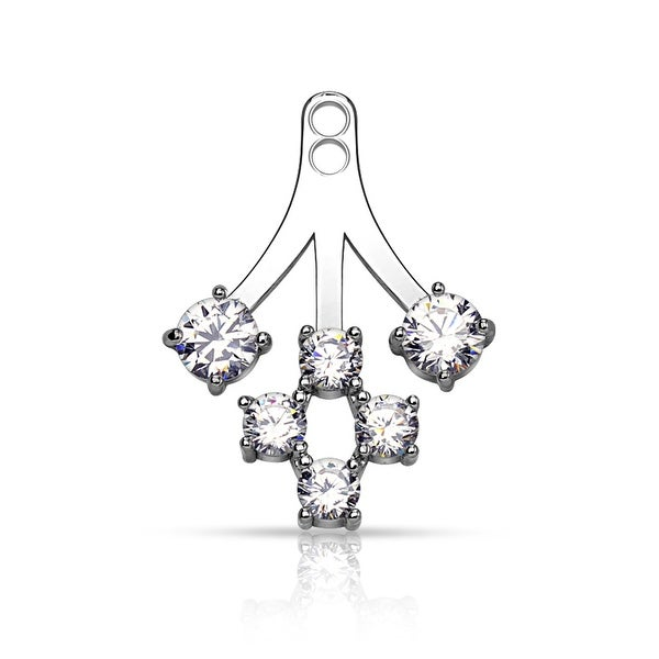 Round CZ Cluster Earring Jacket (Sold Ind.)