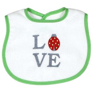 """Raindrops Unisex Baby """"Love"""" Embroidered Bib, Green - One size"""