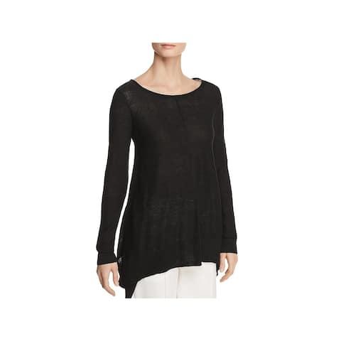 Donna Karan Womens Pullover Sweater Linen Asymmetric