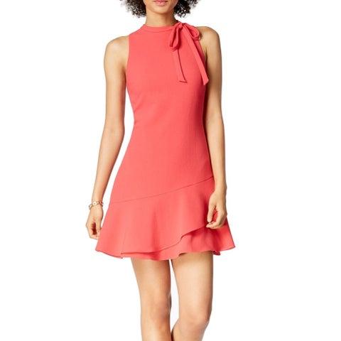 Julia Jordan Pink Women's Size 8 Tie-Neck Ruffled-Hem A-Line Dress