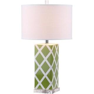 "Link to Safavieh Lighting 27-inch Green Garden Lattice Table Lamp (Set of 2) - 15""x15""x27"" Similar Items in Lamp Sets"