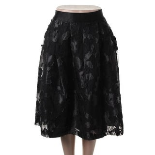Gracia Womens Mesh Pleated A-Line Skirt - M