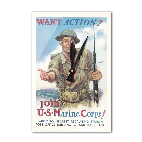 Join the US Marine Corps! (artist: Flagg, James Montgomery) USA c  1942 -  Vintage Poster (Acrylic Wall Clock)