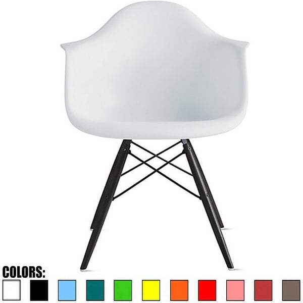 2xhome Modern Plastic Armchair With Arm Dining Chair White with Dark Black Wood Legs