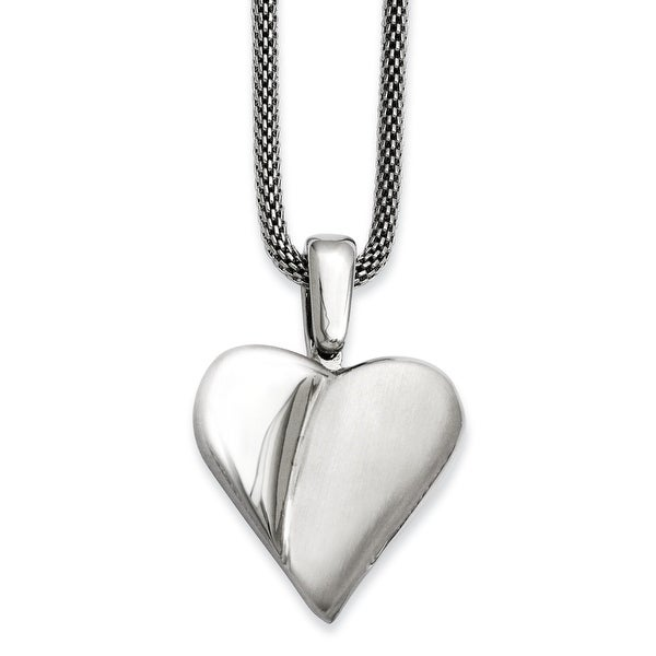 Stainles Steel Brushed & Polished Heart Pendant 24in Necklace (2 mm) - 24 in