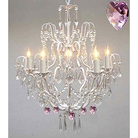 Wrought Iron & Crystal Chandelier Lighting Authentic Empress White Chandelier Lighting With Pink Crystal Hearts